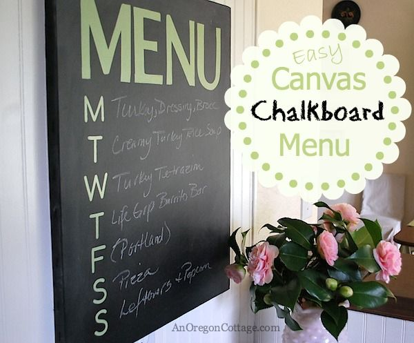 Easy Canvas Chalkboard Menu created with basic materials: flat black paint, sticker letters and an artist's canvas - An Oregon Cottage
