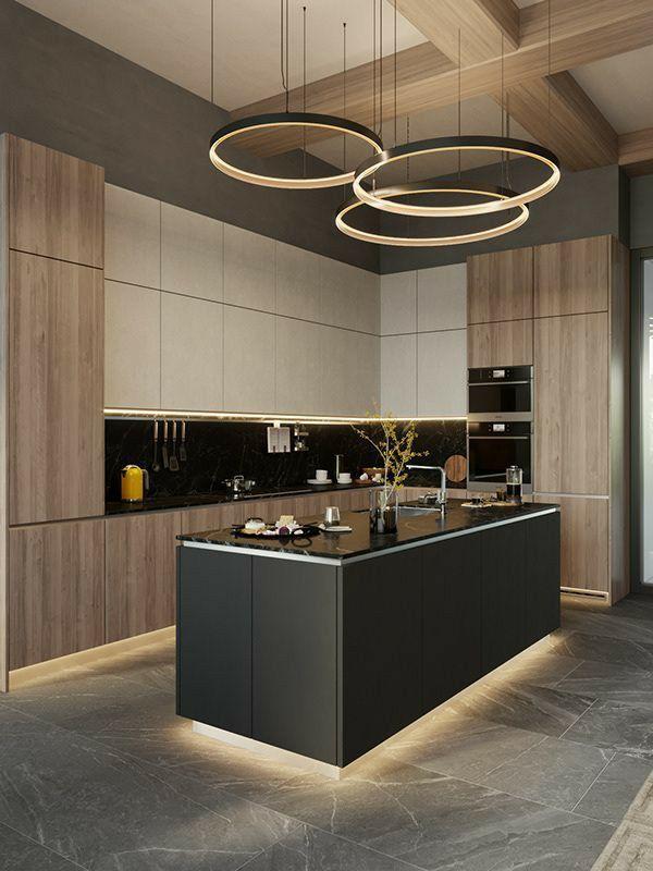 Cucina Moderna Bianca E Rovere Con Isola Antracite Arredo Interni Cucina Arredamento Moderno Cucina Design Della Cucina