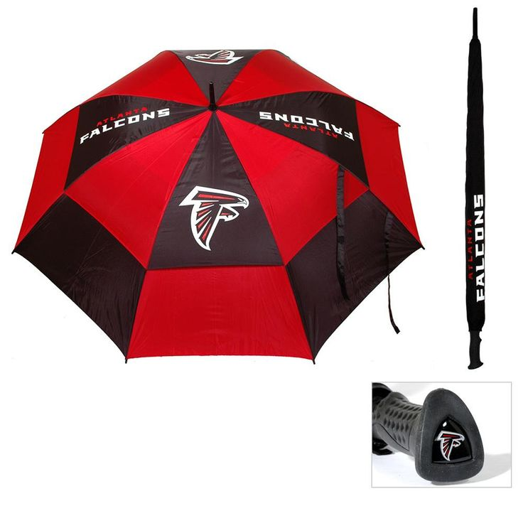 62 double-canopy umbrella with multi-colored panels and full color durable imprint. Includes an easy grip molded handle with team logo medallion and 1 touch auto-open button. Withstands strong winds.