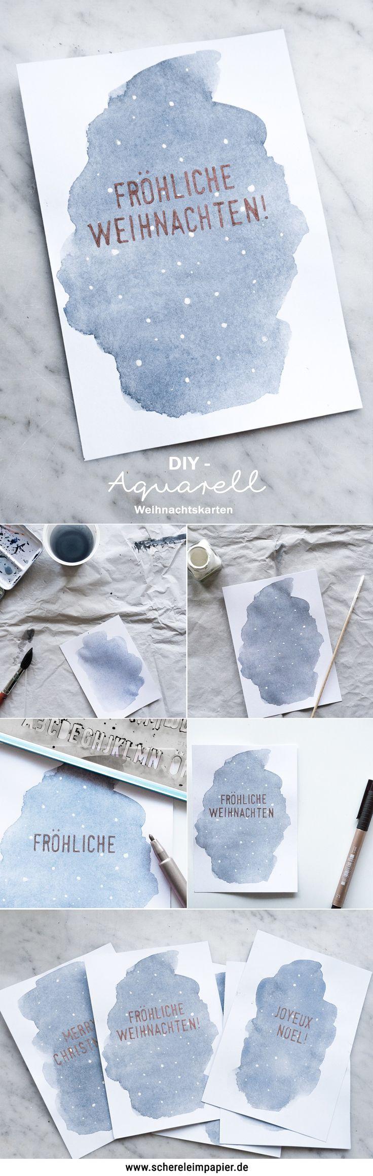 DIY Aquarell Weihnachtskarten basteln - eine schöne Geschenkidee für Weihnachten, ob per Post oder als DIY Deko mit Details in Kupfer für das Weihnachtsgeschenk! Mehr auf dem Blog!