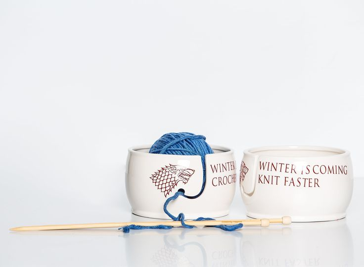 "Yarn Bowl for Knitters, Winter is Coming Knit Faster, Winter is Coming Crochet Faster. This handmade ceramic yarn bowl for crocheting make a great gift for knitters and crochet artists. Game of Throne fans swoon over this best selling yarn bowl. Fill your bowl with yarn and enjoy! Choose from one of two quotes; Winter is Coming Knit Faster or Winter is Coming Crochet Faster. **Measurements** 6"" dia x 4"" height Lettering is custom cut high-grade vinyl lettering. My handmade small business…"