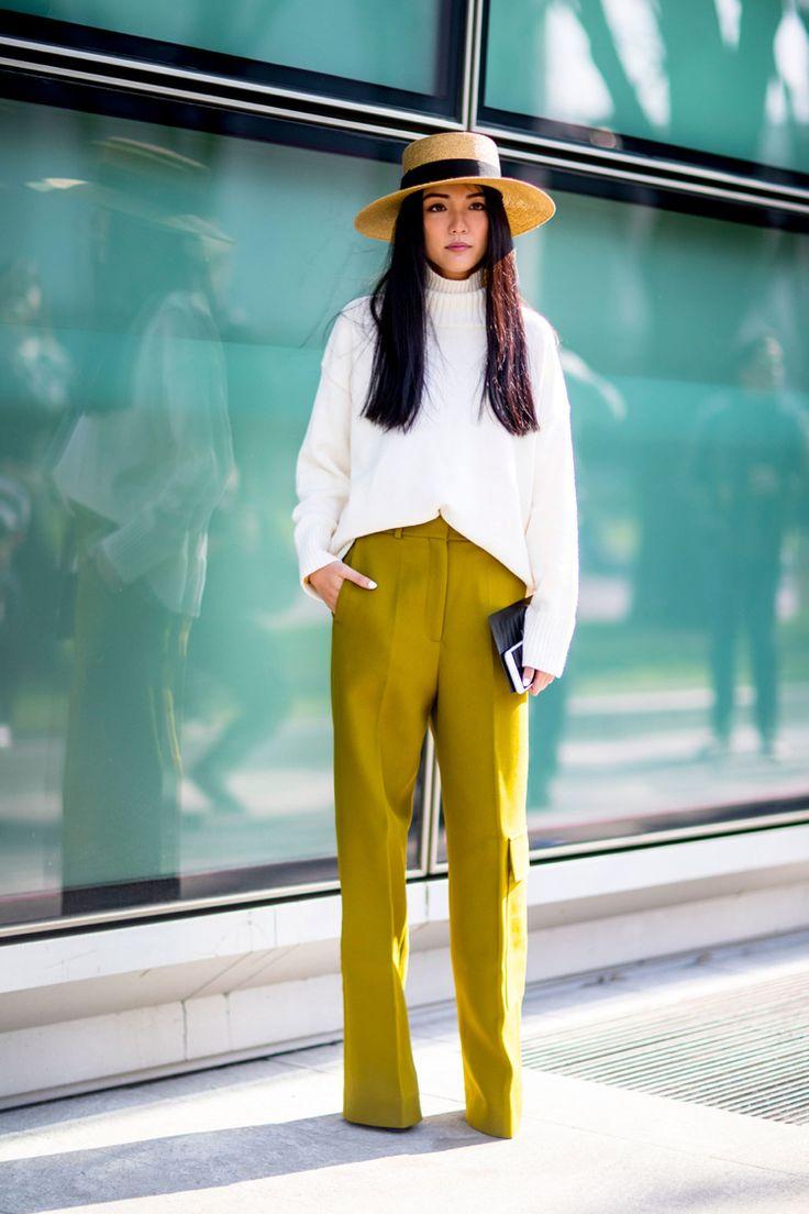 weite hosen trend farbe frühling senf limettengrün #fashion #style