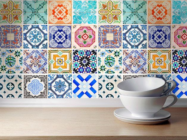 Traditional Spanish Tiles Stickers - Tiles Decals - Tiles for Kitchen Backsplash or Bathroom - PACK OF 16 by homeartstickers on Etsy https://www.etsy.com/listing/212856381/traditional-spanish-tiles-stickers-tiles