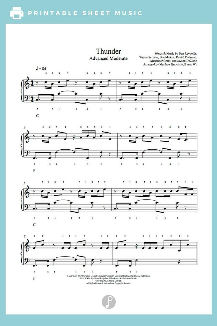 Thunder By Imagine Dragons Piano Sheet Music Advanced Level