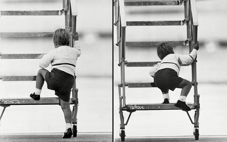 15 September 1984: Prince William climbs the steps to board a plane in Aberdeen