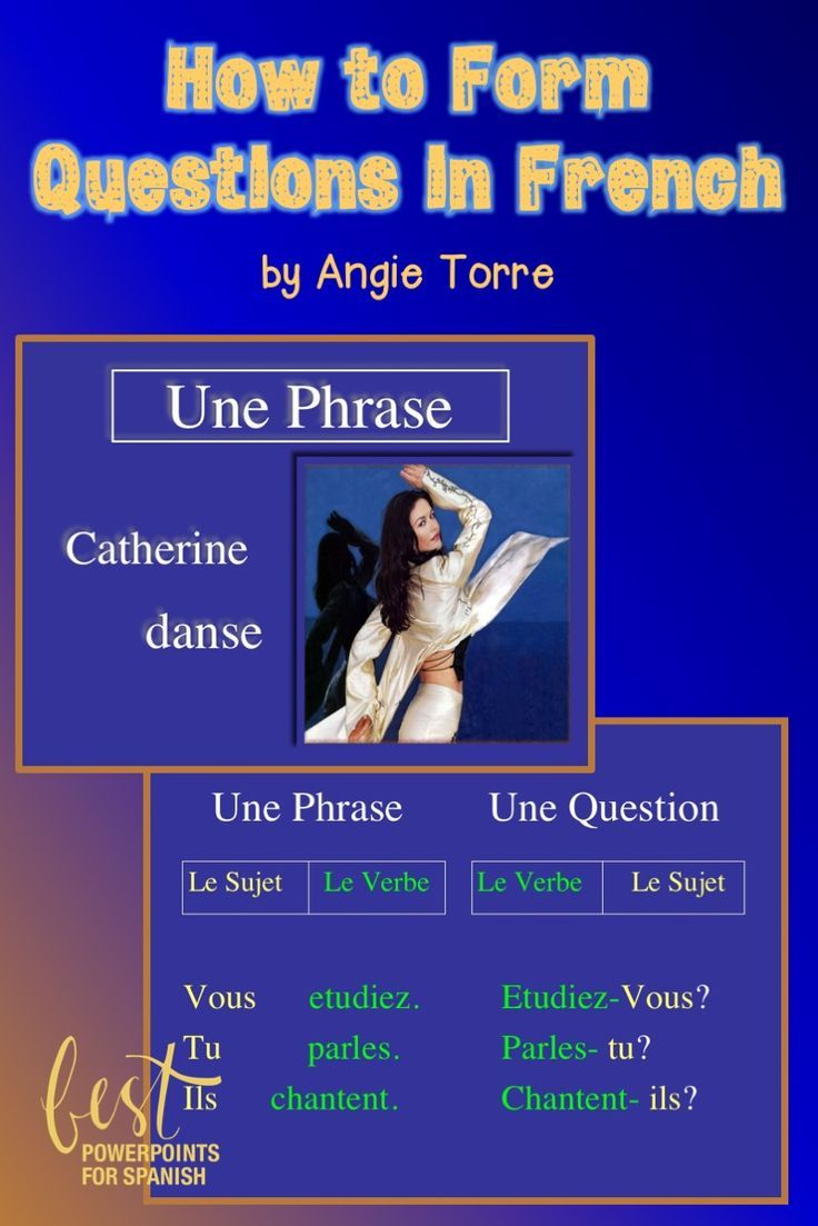 """How to Form Questions in French by Angie Torre: This PowerPoint is a complete lesson on how to form questions in French beginning with the explanation/demonstration performed with moving parts of speech, checking for understanding, guided practice and assessment at the end of each segment. The first few questions of each quiz can be used for checking for understanding.   The lesson includes the use of, """"est-ce que, est-ce qu' and inversion"""" to form questions in French."""