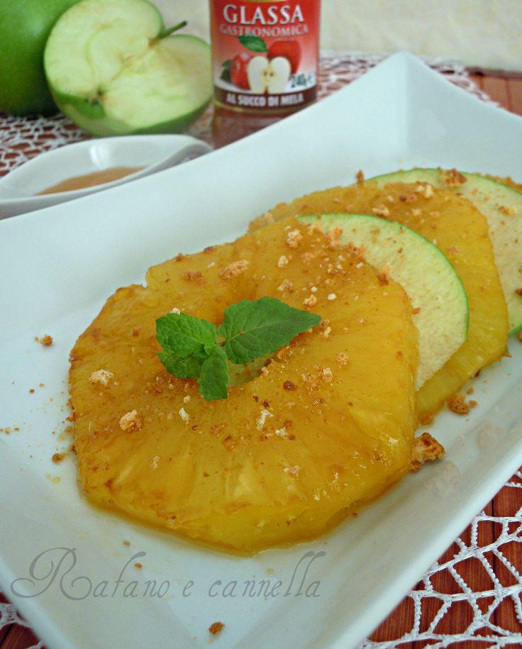 Ananas caramellato con glassa alle mele  #RicettarioGlassePonti  http://blog.giallozafferano.it/rafanoecannella/ananas-caramellato-glassa-mela/