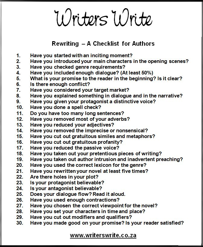 A checklist for writers. This is something all writers should glance over. So we won't end up with more books like twilight.