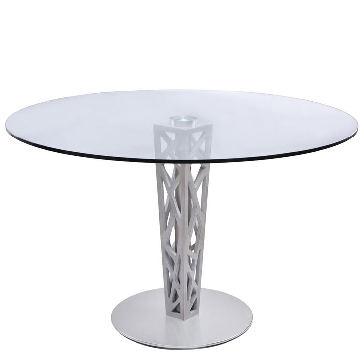 Armen Living Crystal Round Dining Table In Brushed Stainless Steel Finish  With Gray Walnut Veneer Column