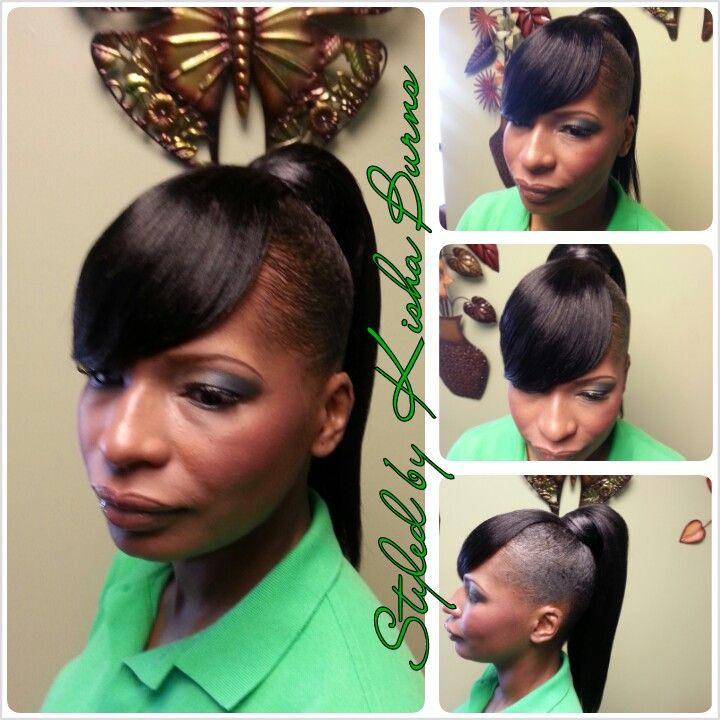 Drop Ponytail With A Swoop Bang Updos And Pin Ups Pinterest Ponytail Bangs And Updos