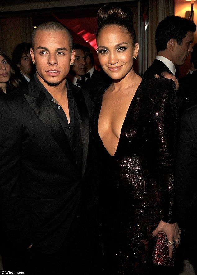 Living the high life: Casper Smart enjoyed rubbing shoulders with his girlfriends A-list friends as he accompanied her to the Vanity Fair post-Oscars bash last night