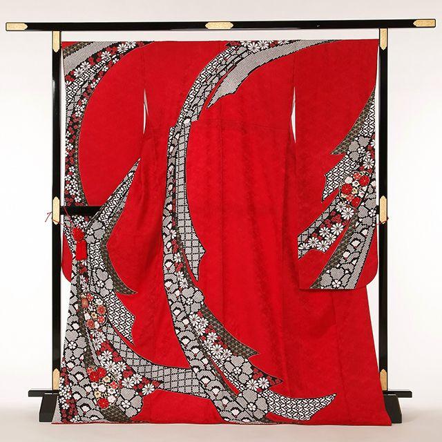 赤色絞風熨斗目柄:FRB305