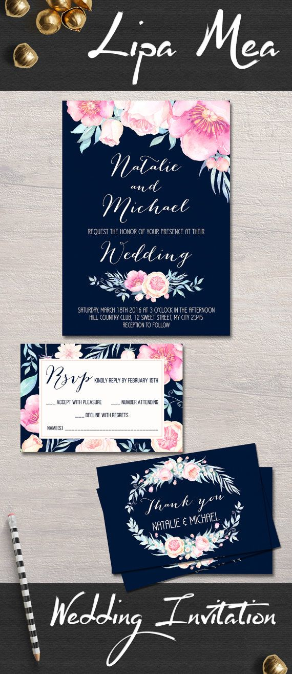 Floral Wedding Invitation, Boho Wedding Invitation, Printable Wedding Invite, Peony Wedding Invitations, Navy & Pink Wedding Invitation Suite perfect for spring and summer weddings. Wedding Planning, DIY wedding. Matching signs and cards available at: lipamea.etsy.com