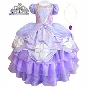 Little Princess Sofia The First Girl's Dress, Tiara, Amulet of Avalor Costume Set Sizes 4-9yr Express Delivery Before Halloween!