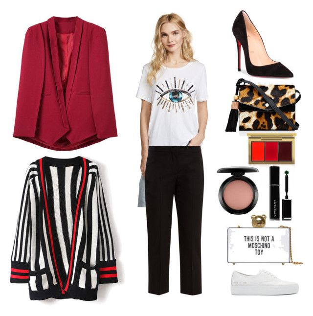 """Let's start the New Year! Empecemos el año como el color rojo, intenso y con energía"" by lusuch on Polyvore featuring moda, South Parade, Alexander McQueen, Christian Louboutin, Common Projects, WithChic, Elizabeth and James, Moschino, MAC Cosmetics y Givenchy"