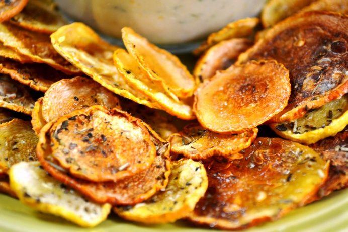 Squash chips:  slice thin, salt, bake @ 200 for 2-3 hours.