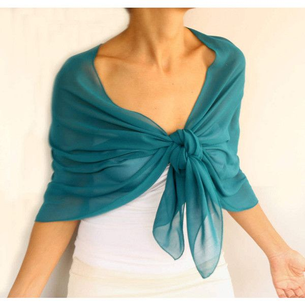 Dark Turquoise Chiffon Shawl Evening Stole Wrap Bridesmaid Solid Green... (45 CAD) ❤ liked on Polyvore featuring accessories, scarves, green scarves, evening wrap shawl, shawl scarves, holiday scarves and chiffon scarves