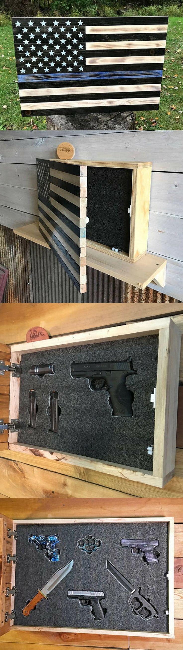 Gun Concealment Cabinet   Thin Blue Line Locking Hidden Gun Cabinet   Gun Storage   Gun Rack   Gun Case   Gun Safe American Flag   Gift For Him #ad #case #safe #safety #safetyfirst #thinblueline #conceal #concealment #wallhanging #flag #americanstyle #police