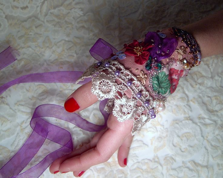 shabby chic bohemian wrist wrap with  lace and beading