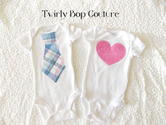 Valentine's Day Set of 2 Twins matching heart or Tie Shirts/ Bringing Twins Home outfits/ Twins baby shower gift  Any fabric Boys or Girls