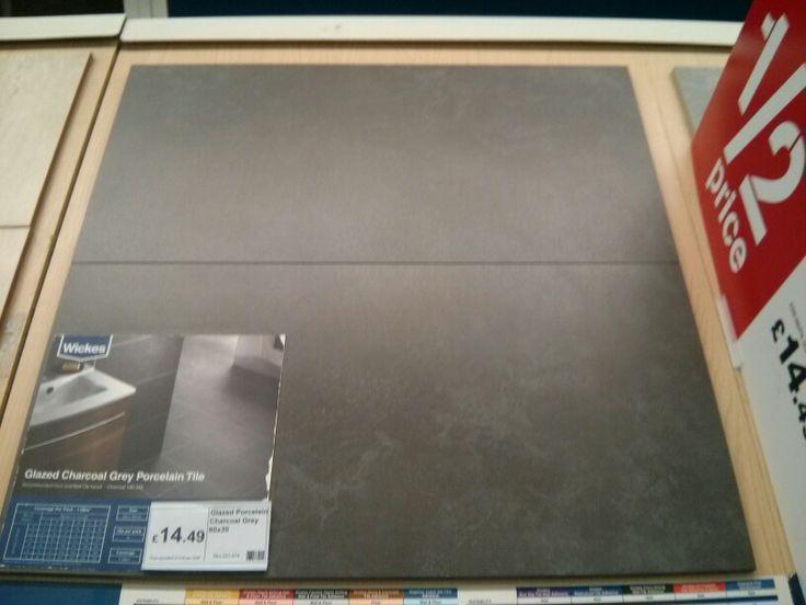 Glazed charcoal grey porcelain tile from wickes