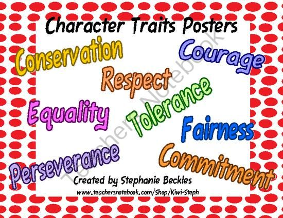 Character Traits Posters from Kiwi-Steph on TeachersNotebook.com (10 pages)  - This product was created to use with the character studies in the first grade curriculum (Georgia).  Rather than just giving a definition of each character trait, I have created posters that give examples of behaviors for each trait.  I put these up at th