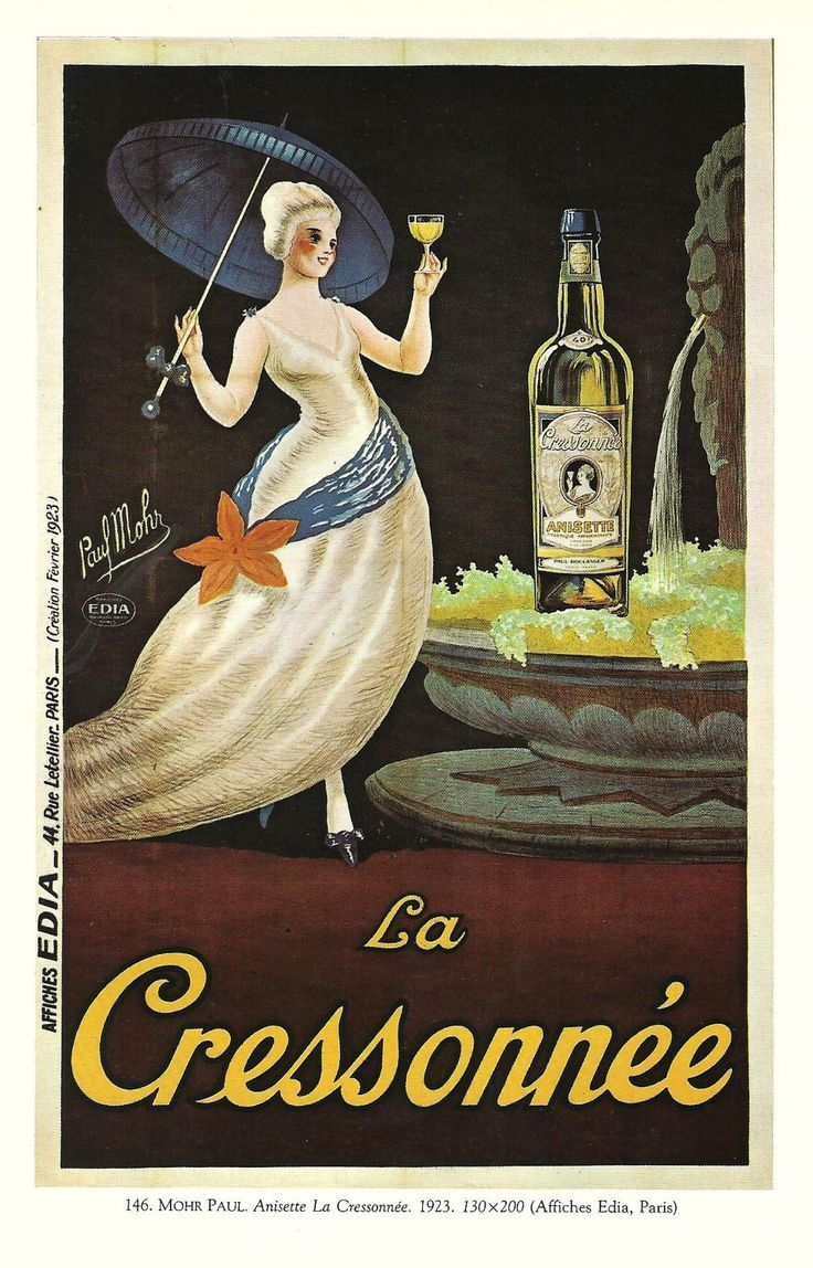 Vintage French Posters | Antique French ALCOHOL advertising poster by Paul Mohr - umbrella ...