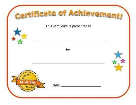 blank certificate of achievement for kids fill in the details yourself to award a child for a specific achievement with a special certificate