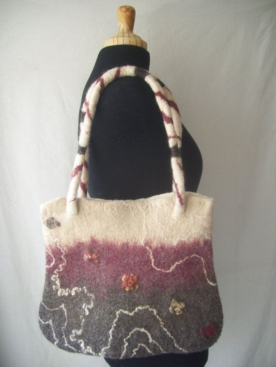 Handmade felt bag white beige burgundy and dark by CleoDeLana