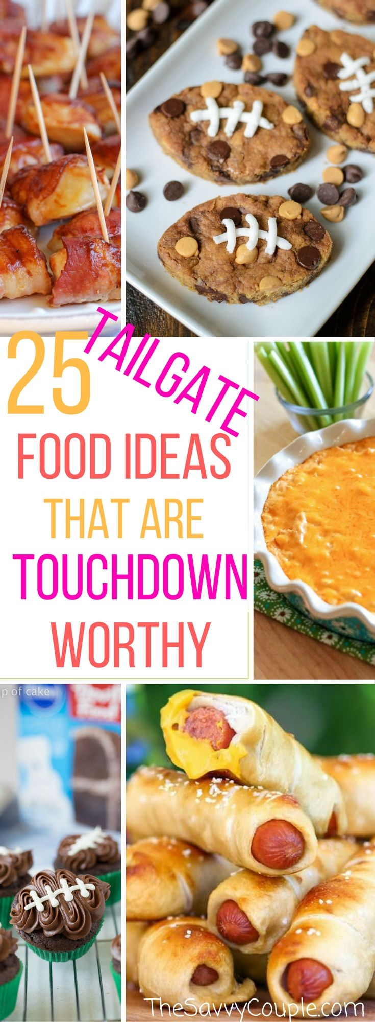 Here is the ultimate Pinterest list for easy tailgate foods. Football, fall, and food! These tailgate ideas that will please any crowd. This Pinterest roundup of tailgate ideas has been divided into five different categories; appetizers, chicken recipes, meaty recipes, slow cooker recipes, and dessert recipes. Try them today! Fall | Football | Tailgate Ideas | Tailgate Food | Roundup | Best of | The Savvy Couple via @TheSavvyCouple
