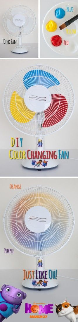 Create a color changing fan inspried by Oh's color changing abilities from the movie Home. Sponsored by DreamWorks.