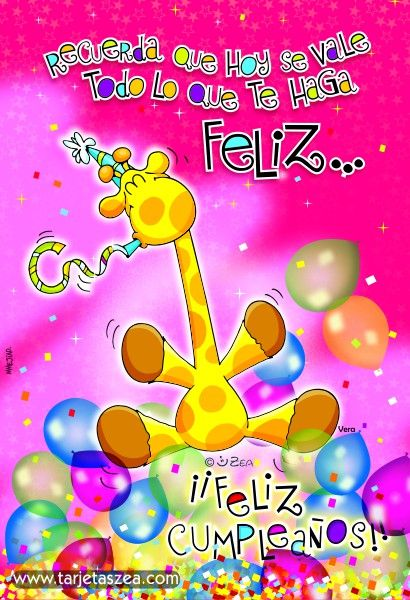 Imagen de cumpleaños-para ser feliz en tu día-Vera © ZEA www.tarjetaszea.com