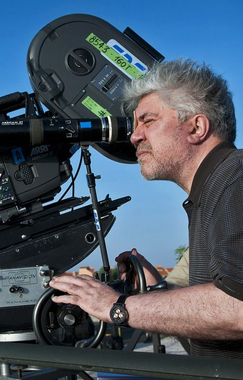 Pedro Almodovar on the set of La Piel que Habito