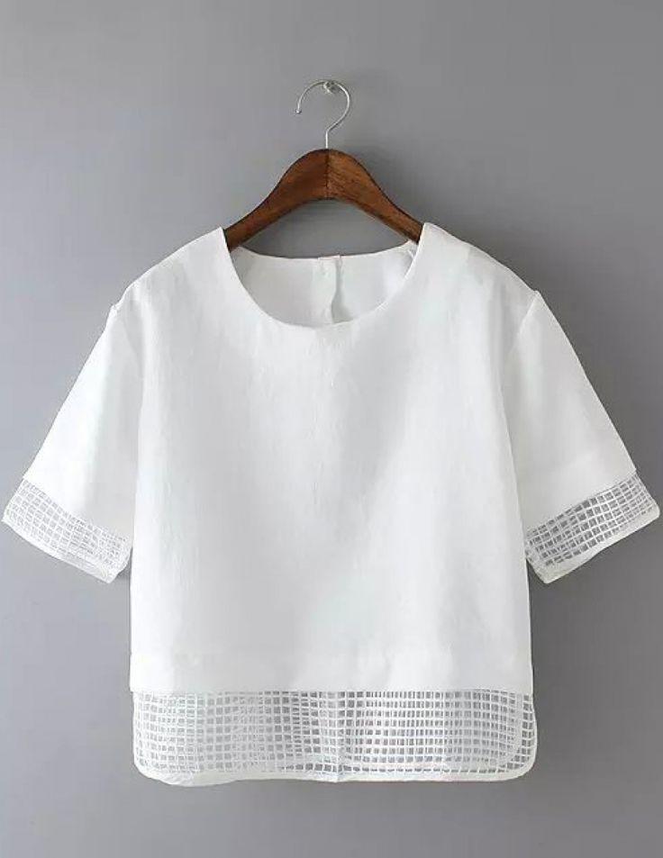 Buy White Short Sleeve Sheer Plaid Crop Blouse from abaday.com, FREE shipping Worldwide - Fashion Clothing, Latest Street Fashion At Abaday.com