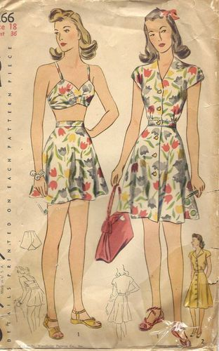 "1940s Vintage Sewing Pattern BATHING SUIT & DRESS (Bust:36"") (R187)"