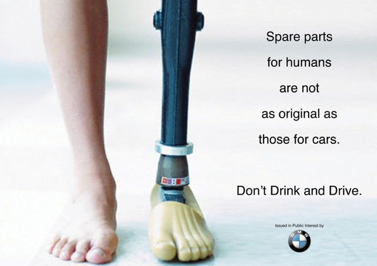 (Ch 10) This BMW ad demonstrates a fear appeal, which emphasizes the negative consequences that can occur unless the consumer changes a behavior or attitude. BMW is comparing having original parts for their cars to consumers' parts of their body not being replaceable if you get injured from drinking and driving. BMW is using this fear strategy to show what negative consequences can happen to your body if you don't rely on a designated driver.