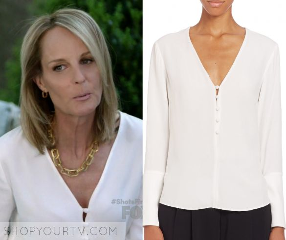 "Shots Fired: Season 1 Episode 2 Patricia's White Button Closure Blouse | Shop Your TV Governor Patricia Eamons (Helen Hunt) wears this white long sleeved button closure v neck blouse in this episode of Shots Fired, ""Hour Two: Betrayal of Trust"".  It is the A.L.C. 'Charlie' V-Neck Top."