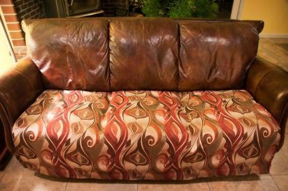 easy quick fix for a battered couch with upholstery fabric, The end result