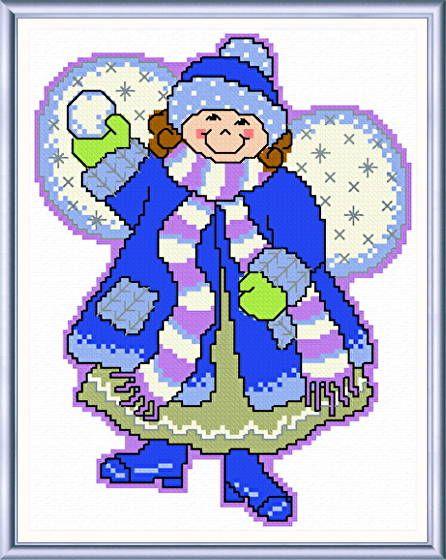 January Angel cross stitch pattern designed by Ursula Michael.