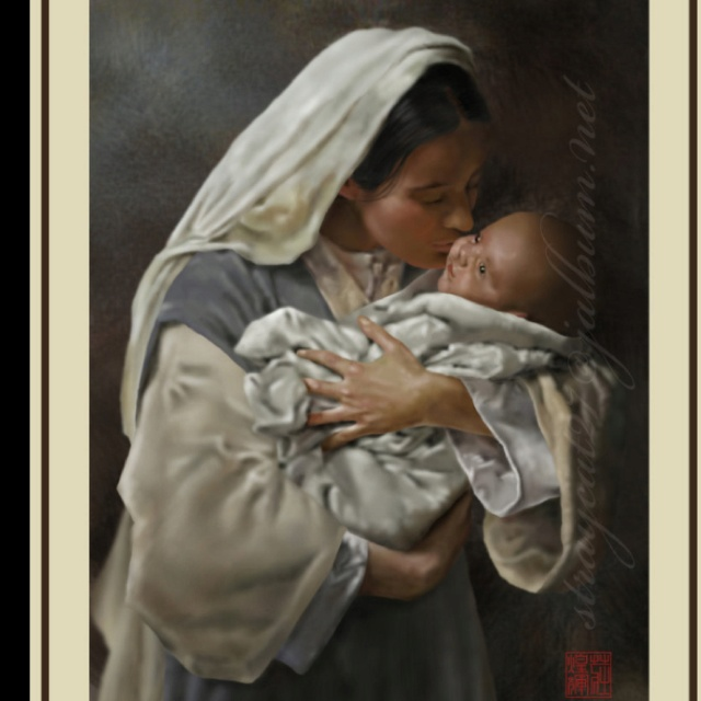 Title: Kissing the face of GOD I feel this is one of the most beautiful pictures of Mary and baby Jesus.