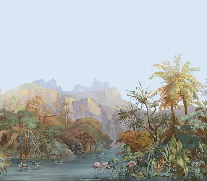 Papier peint panoramique Les Zones Terrestres dessiné par Ehrmann et Zipélius en 1855 (Zuber)