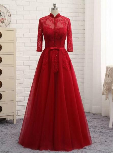 a4958e17657 Long Sleeves Muslim A Line Lace Party Gown Mother Of The Bride Dresses