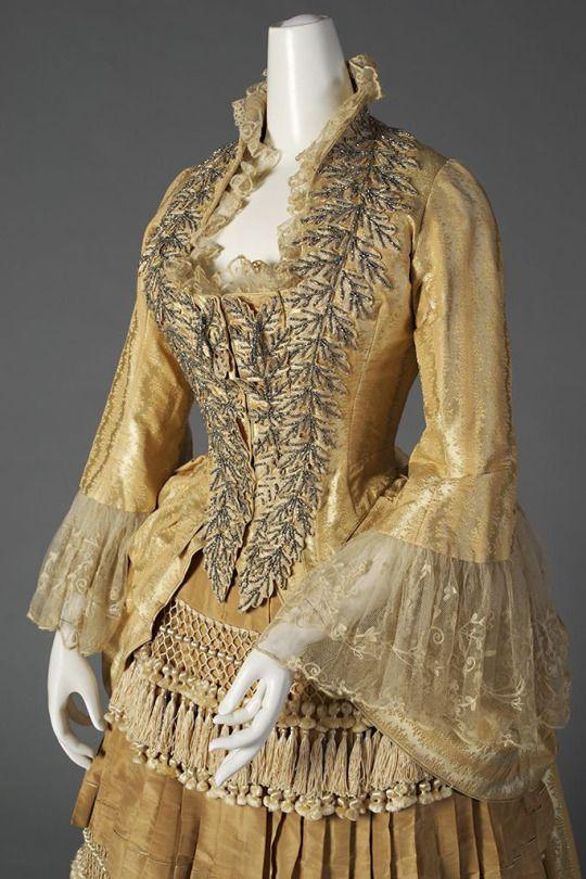 Ephemeral Elegance  Steel Bead Embellished Gown, ca. 1880  via KSUM