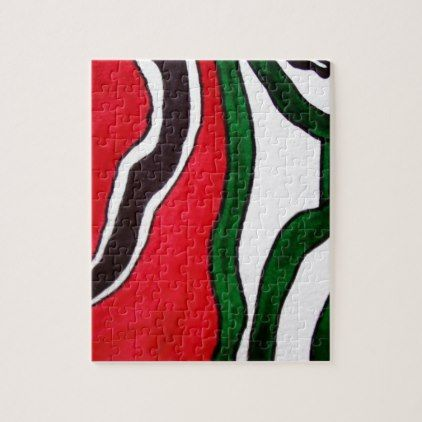 Red Green Black White Abstract Design Products Jigsaw Puzzle - red gifts color style cyo diy personalize unique
