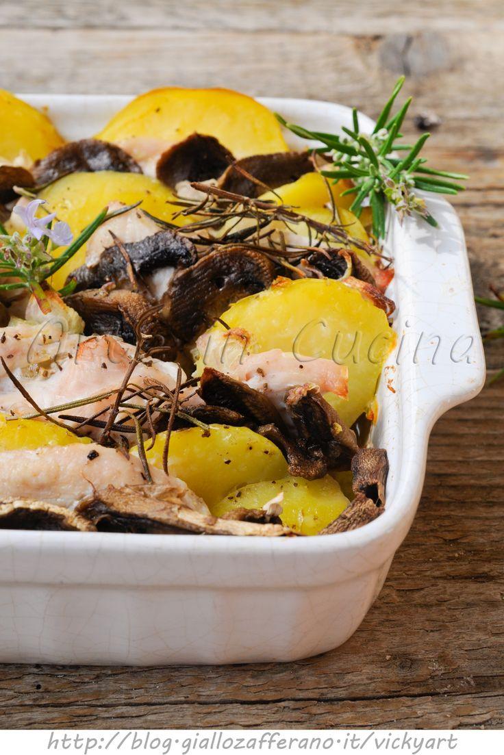 Pollo con patate e funghi al forno ricetta facile vickyart arte in cucina