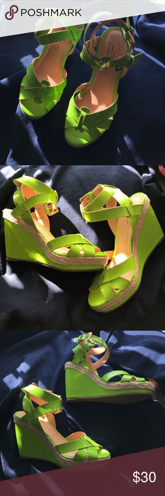Bright Green Diane Gilman Wedges sz 6 1/2 Bright neon Green wedge Sandals by Diane Gilman. They are new. Size 6 1/2. Diane Gilman Shoes Wedges