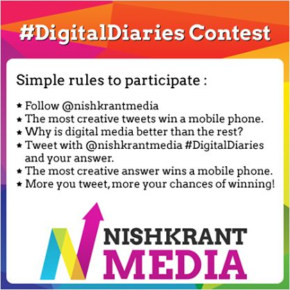 Tweet with #DigitalDiaries on twitter and stand a golden chance to win a mobile phone! Start tweeting now!