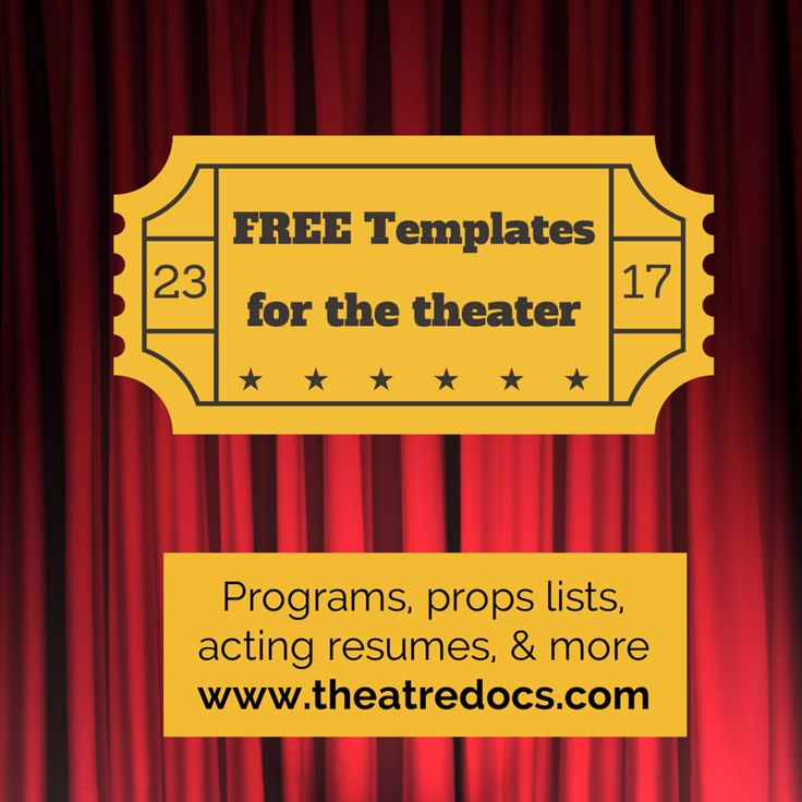 Free theater templates. Going to use this for my acting resume. www.theatredocs.com