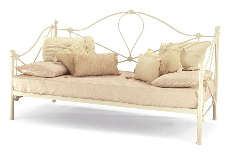 Traditional small single day bed in a high quality ivory colour.FREE Express Delivery. Mattress sold separately.