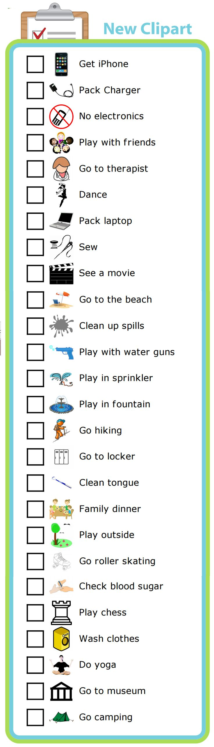I've added 26 more customer requested images to the Chores & Checklists activity. There are now more than 250 images to choose from to make a morning routine, after school checklist, chore charts, or bedtime routine!